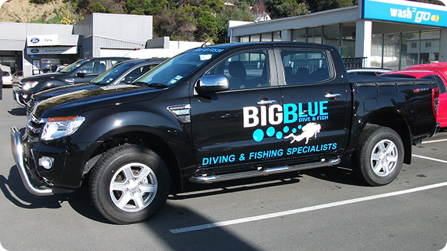 Big Blue Dive and Fish Signwritten